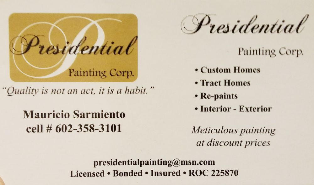photo of presidential painting gilbert az united states presidential painting business card
