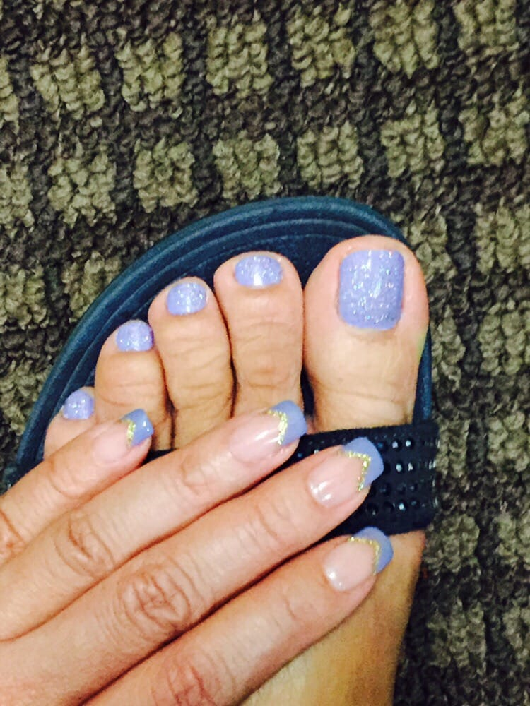 V-French Manicure Shape w/ gold V-line I love this color and happy ...