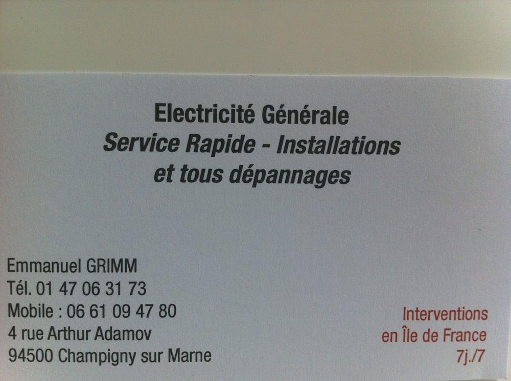 electricien 4 rue arthur adamov champigny sur marne. Black Bedroom Furniture Sets. Home Design Ideas