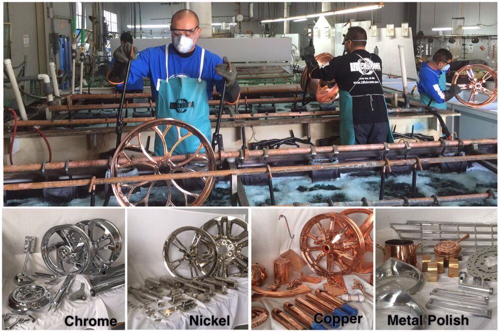 Chrome plating of wheels, motorcycle parts, classic car part