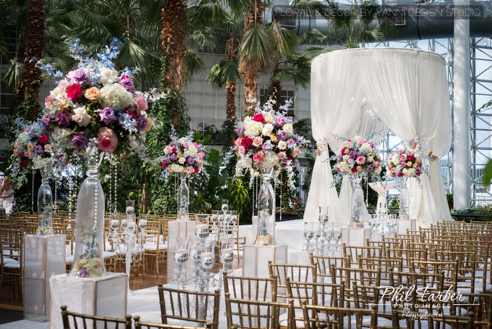 Ceremony Decor Includes White Aisle Runner, Colorful