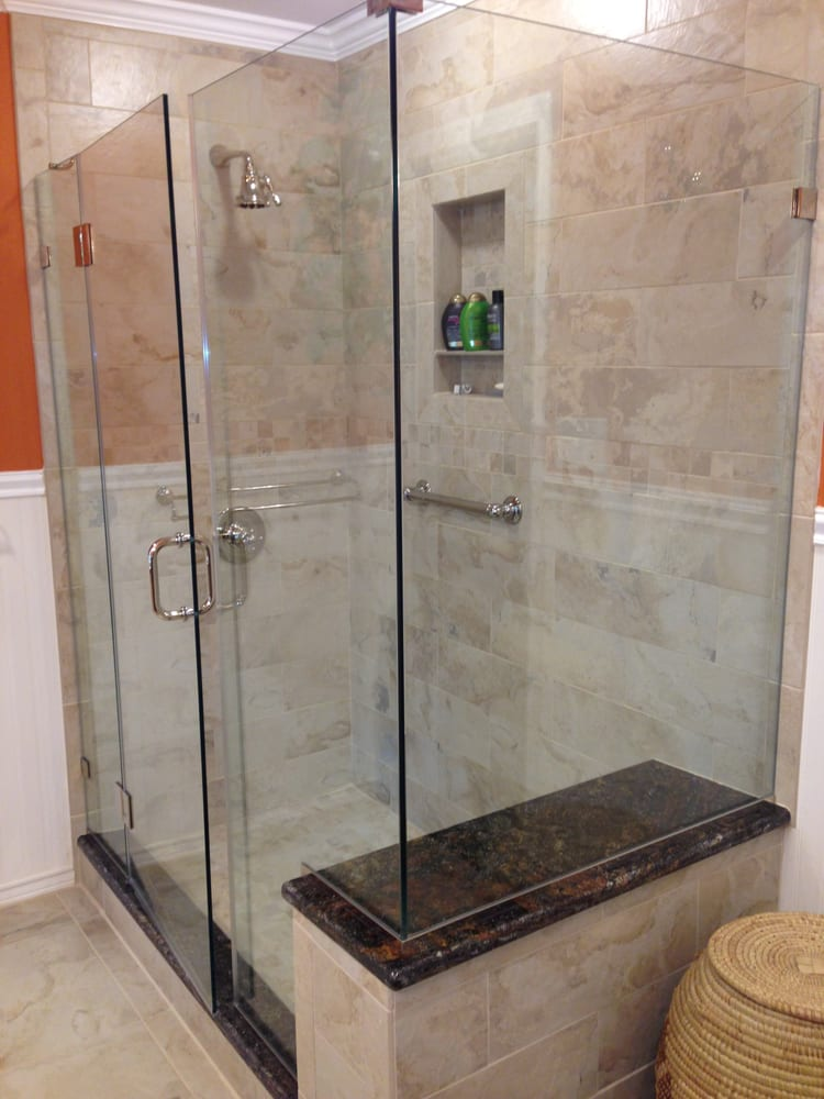 Frame-Less Glass Shower Enclosure w/ Granite Bench Seat & Curb. - Yelp