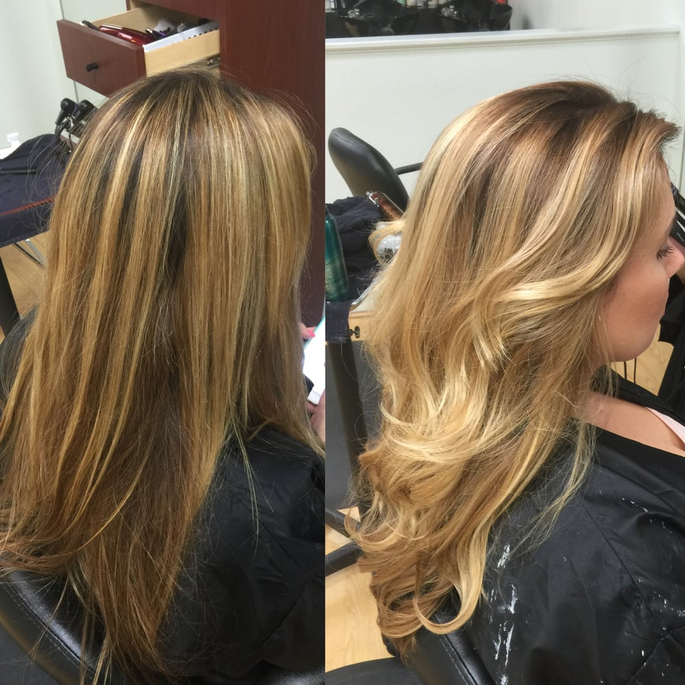 Color Correction Stripe Blonde Foil Highlights With