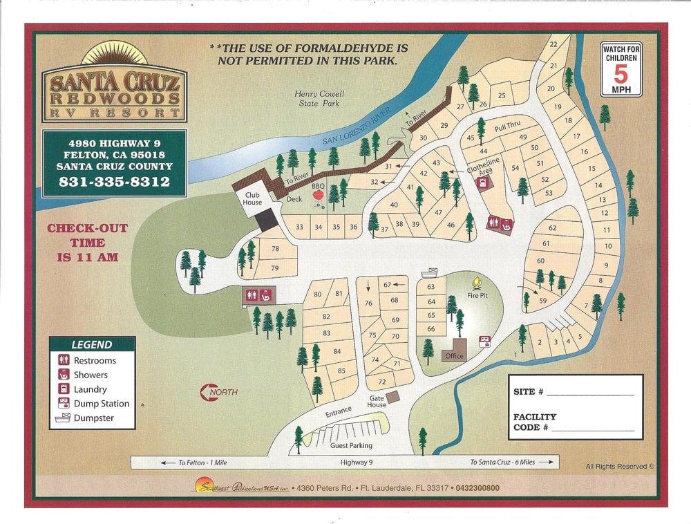Santa Cruz Redwoods Site Map With New Improvements Path