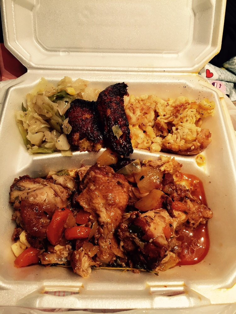 Brown stewed chicken, cabbage, mac & cheese, and plantains. I\'ve had ...