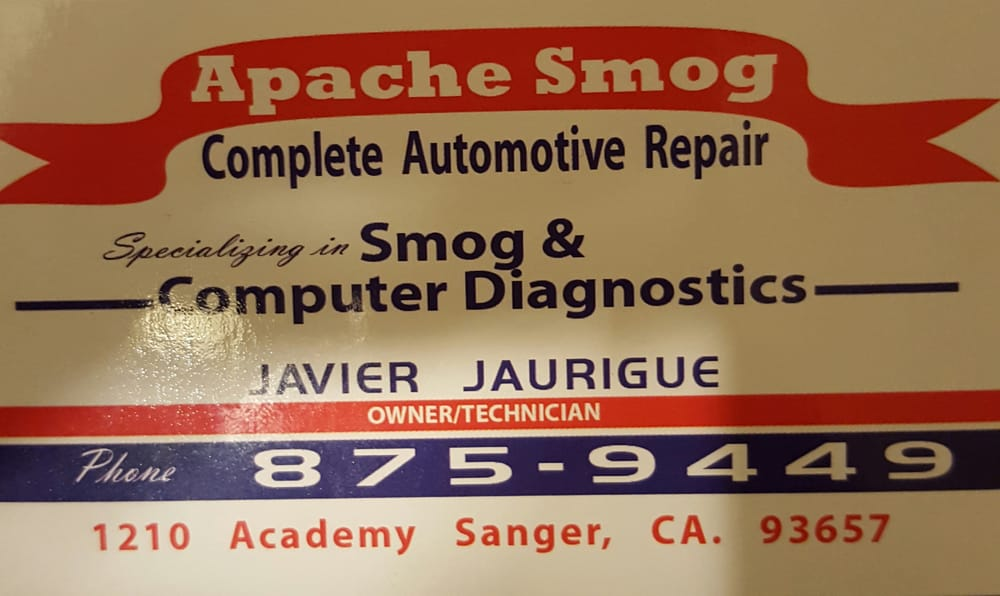 Apache smog riparazioni auto 1210 academy ave sanger for Telefono 1210