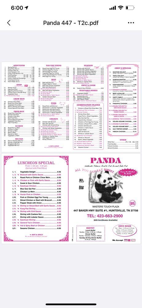 Panda: 447 Baker Hwy, Huntsville, TN