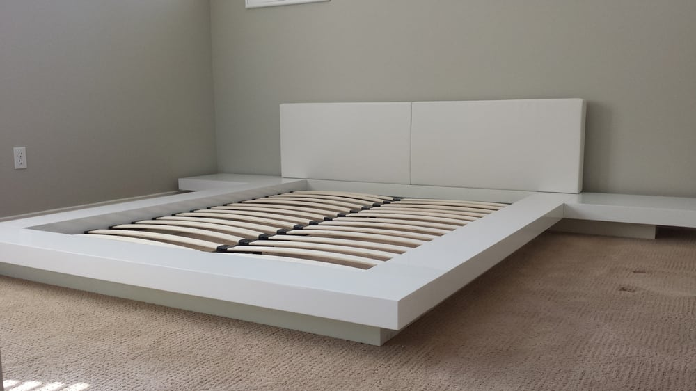 . Opal   low profile white bed with attached nightstands   Yelp