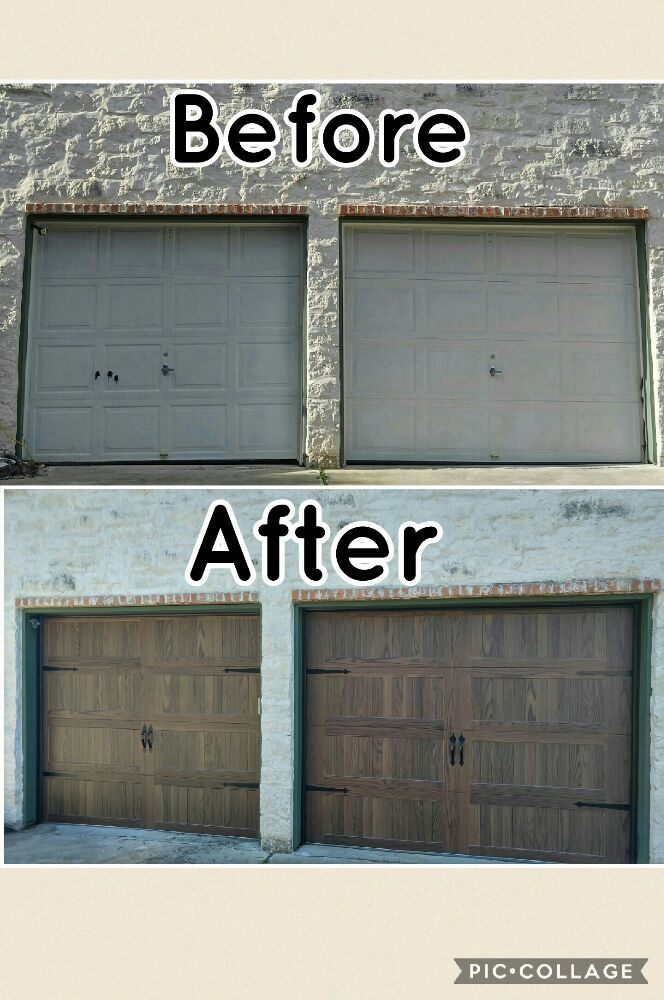 Berore and after beautiful faux wood garage doors yelp for Garage door repair austin yelp