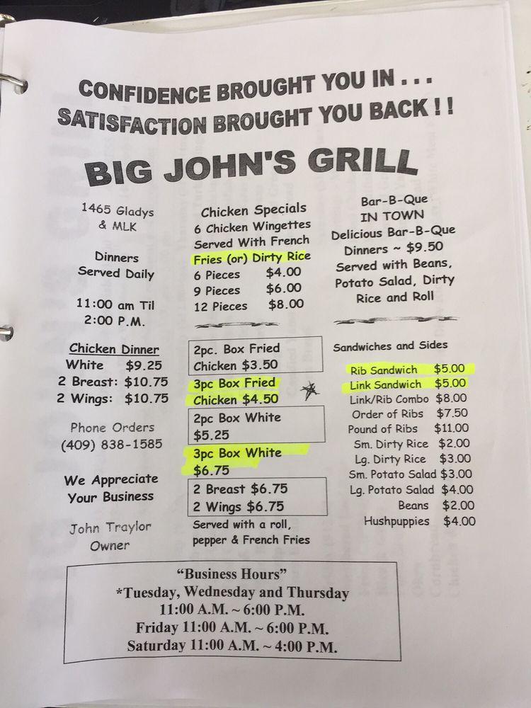 Big John's Grill: 1465 Gladys St, Beaumont, TX
