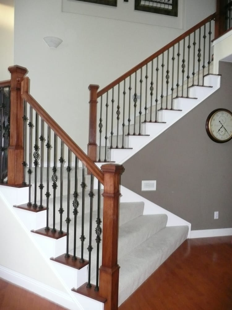 Beautiful Updated Staircase Square Newels Add So Much Character And Wrought Iron Balusters Just