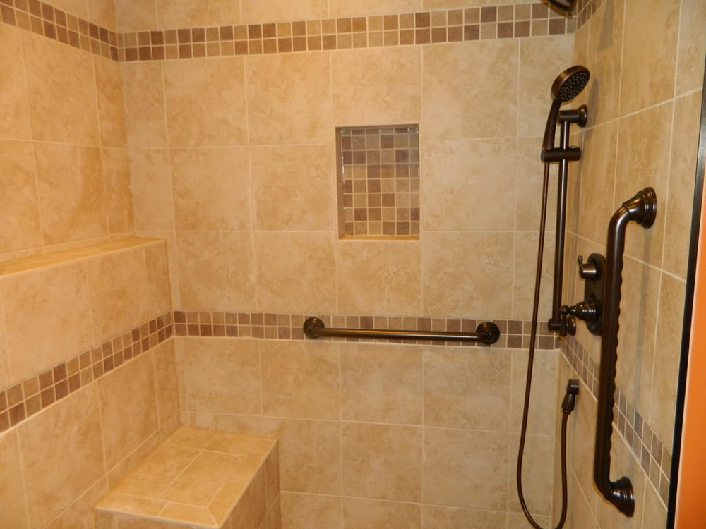 Custom Walk In Showers custom tiled walk-in shower, with seat, and safety grab bars. - yelp
