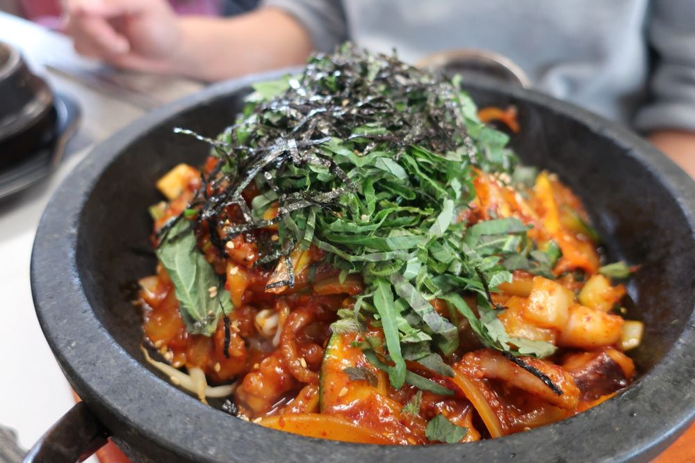 Photo of Gaenali Bon Ga Korean Restaurant - Garden Grove, CA, United States. Octopus dolsot bibimbap $12.95