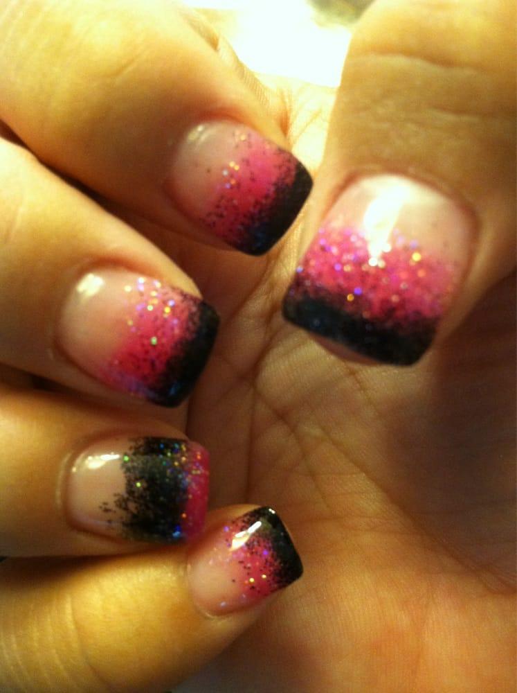 Hot pink and black glitter acrylics by Hannah. Amazing job! - Yelp