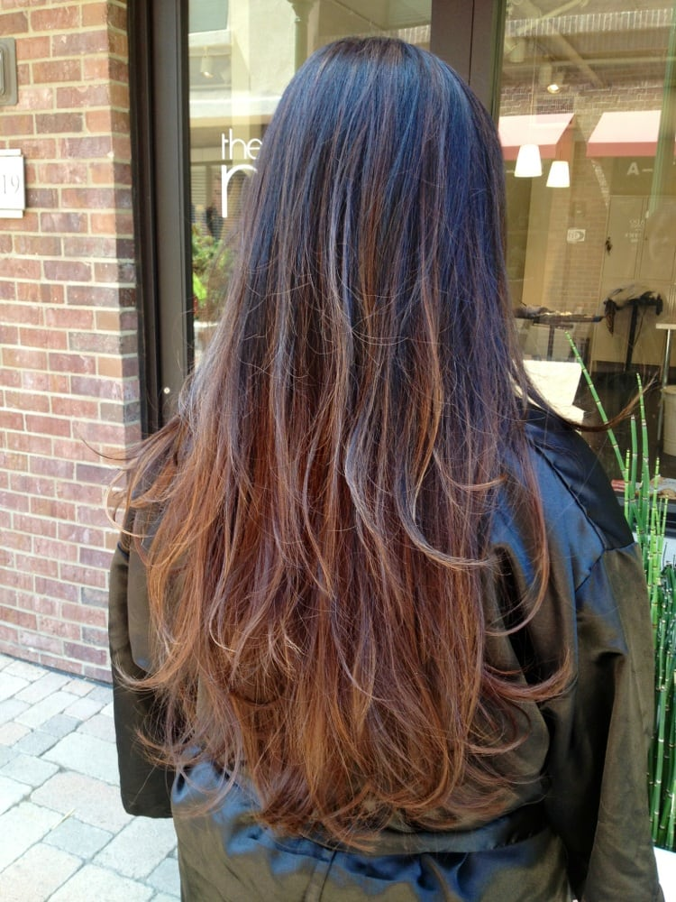 Ombre Hair Brown To Caramel To Blonde Medium Length Ombré Color an...