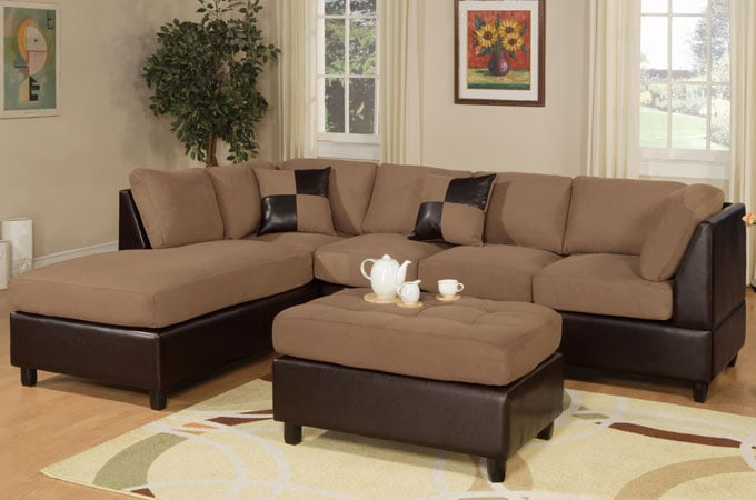 Saddle Microfiber Sectional Sofa Set With Free Shipping In ...