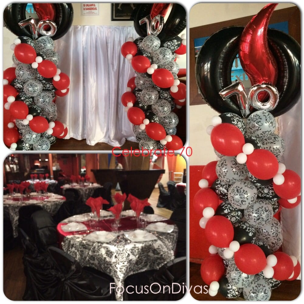 Crystal And White Wedding Theme: Red And And Black Balloon Decor