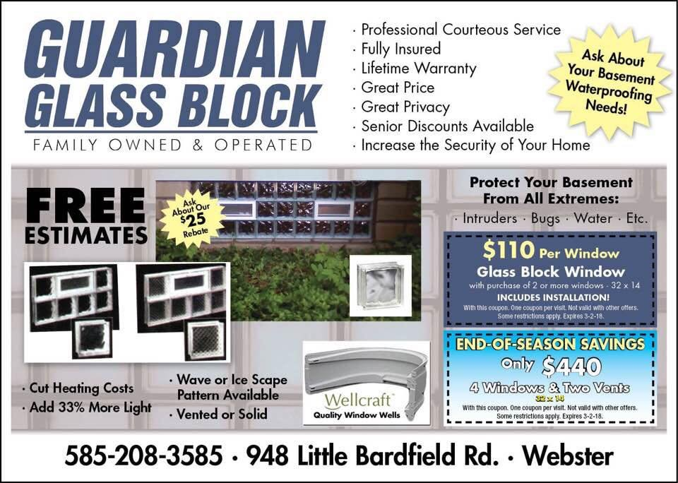 Guardian Glass Block: 948 Little Bardfield Rd, Webster, NY