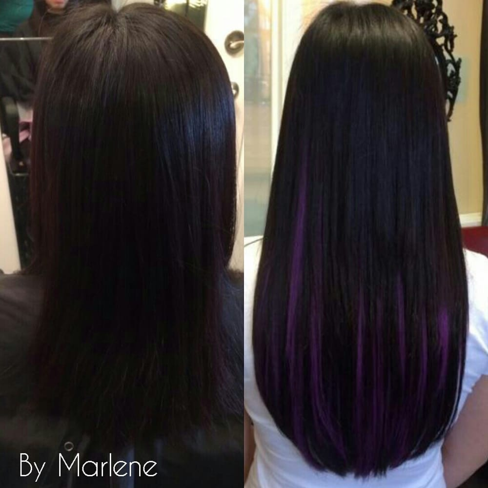 Before And After Fusion Extensions With Purple Highlights Applied