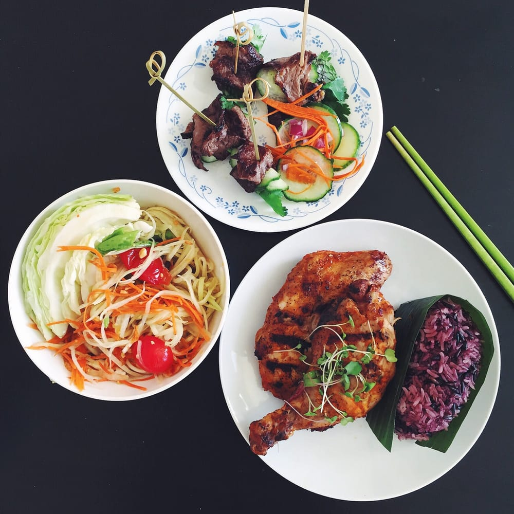Neua Num Tok Beef Rolls Kai Yang Grilled Chicken