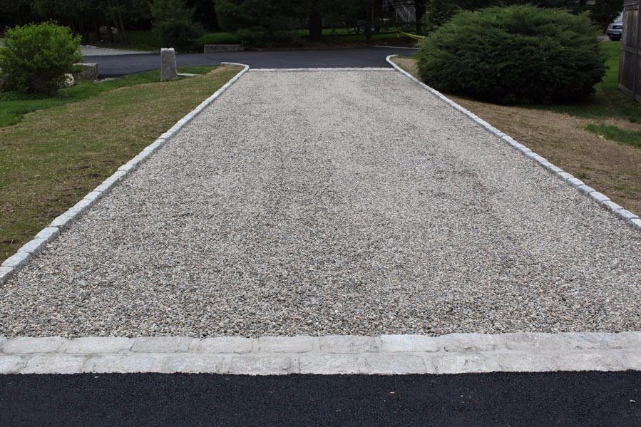 Crushed Stone Driveways : Crushed stone driveway with belgium block apron in asphalt