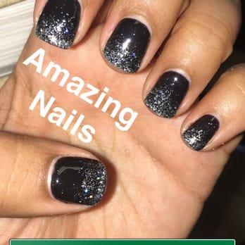 Black And Silver Glitter Gel Nails Papillon Day Spa