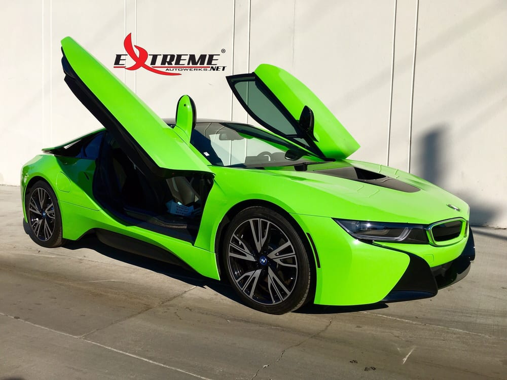 2016 Bmw I8 Gloss Green Vinyl Wrap Custom Bmw Roundels And Vinyl Smoked Taillights