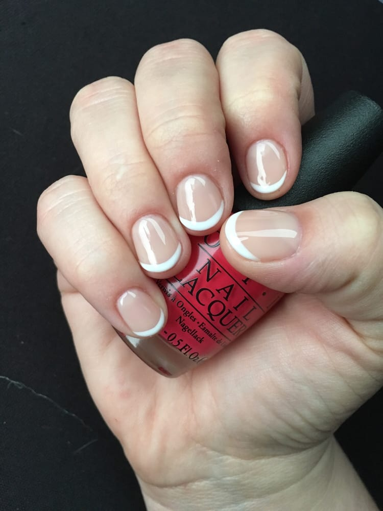 Perfect nude French mani short round nails - Yelp