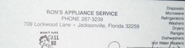 Ron's Appliance Service: 709 Lockwood Ln, Jacksonville, FL