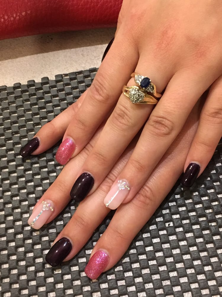 Acrylic nails with gel polish and jeweled accents - Yelp