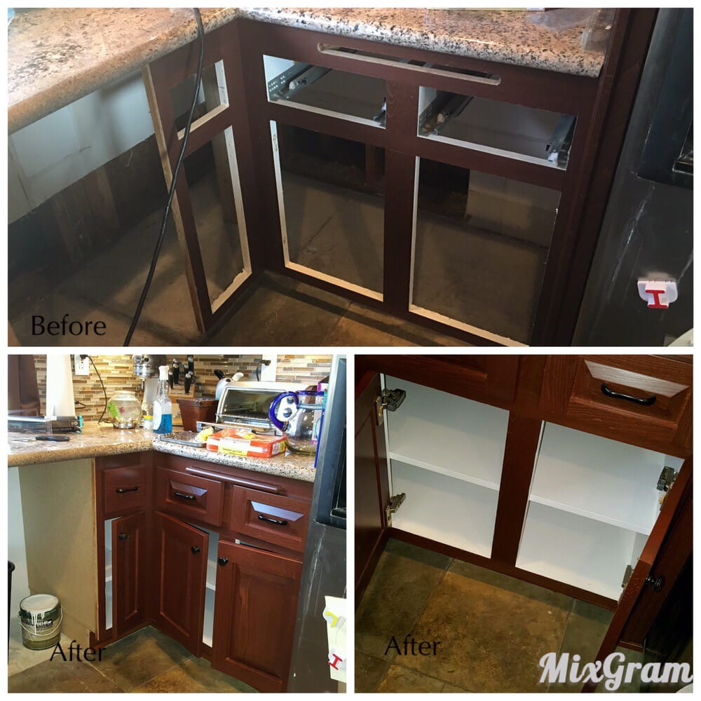 Water Damaged Cabinets .Repaired I Place,countertop Saved
