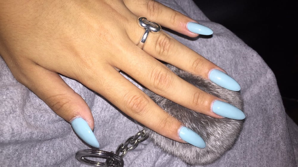 my blue almond/stiletto nails - Yelp