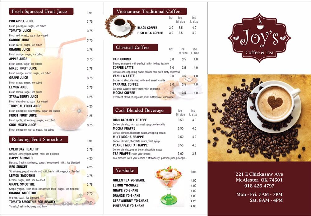 Joy's Tea and Coffee: 221 E Chickasaw Ave, Mcalester, OK
