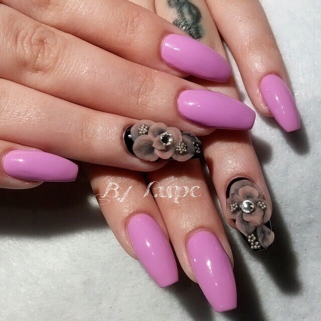 Acrylic Nails In Ballerina Shape With 3d Designs Yelp