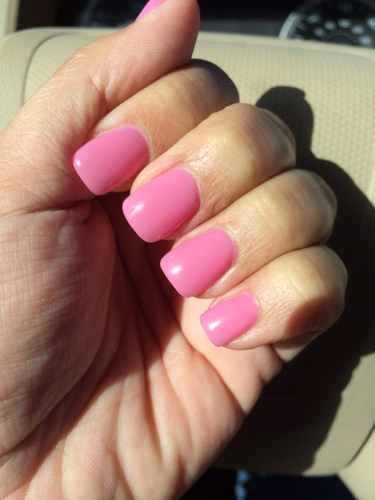 Acrylic overlay over natural nails. Pink polish with gel clear top ...