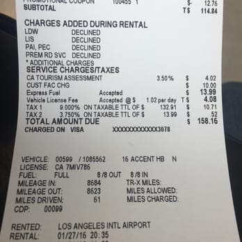 Thrifty Car Rental Gas Receipt