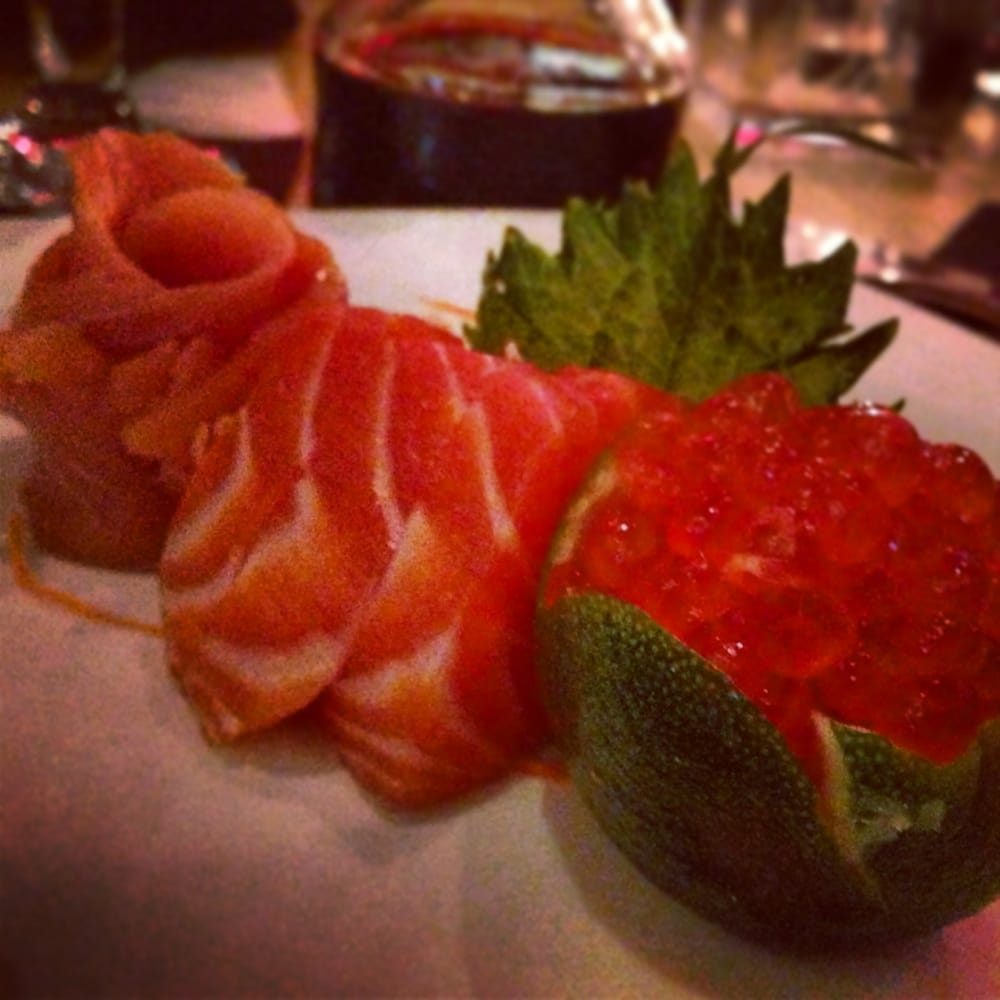 Salmon sashimi trio cold smoked straight up and roe for Drunken fish kansas city