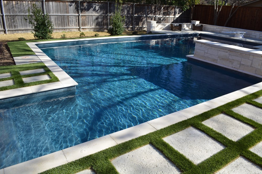 Quot Ribbon Quot Synthetic Turf Around Concrete Pavers Looks