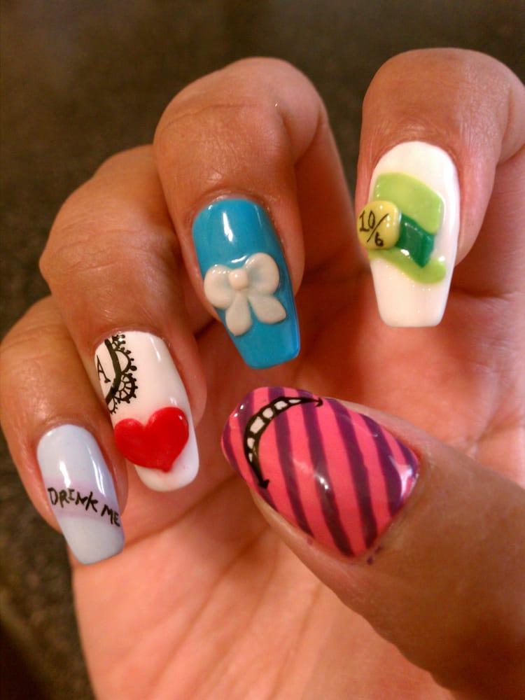 Alice In Wonderland Theme Calgel Nail Design Art Drink Me Ace Of
