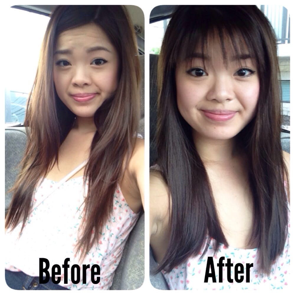 before: thin hair with too thick long bangs. after: fuller feel