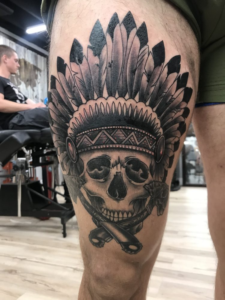 d3fb55ee31bcb Photo of Funhouse Tattoo - San Diego, CA, United States. Native American  skull