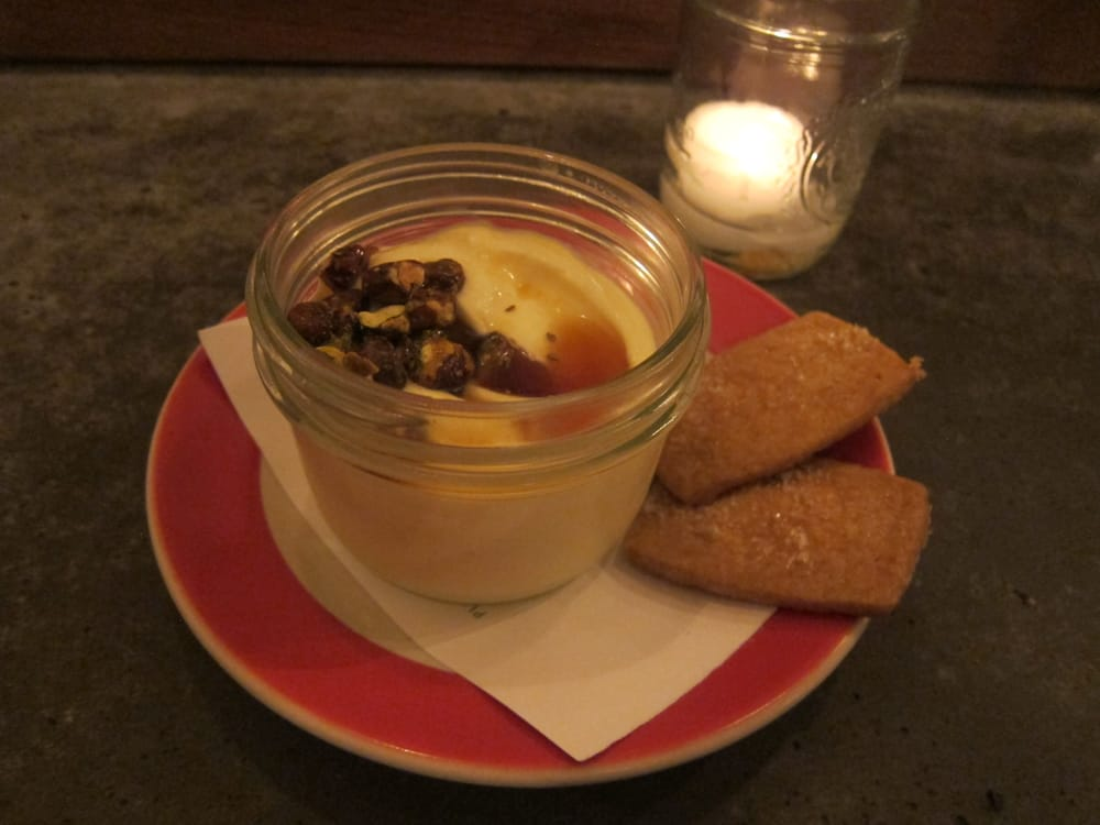 ... Meyer Lemon Budino with Candied Pistachio, Anise Caramel, Shortbread