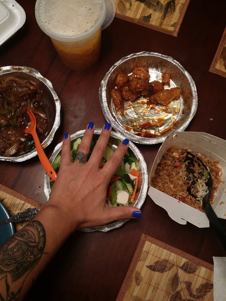 using my hand to show how big portions are extremely