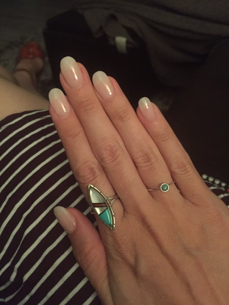 Acrylic nails with a translucent pink polish, by Paul - Yelp