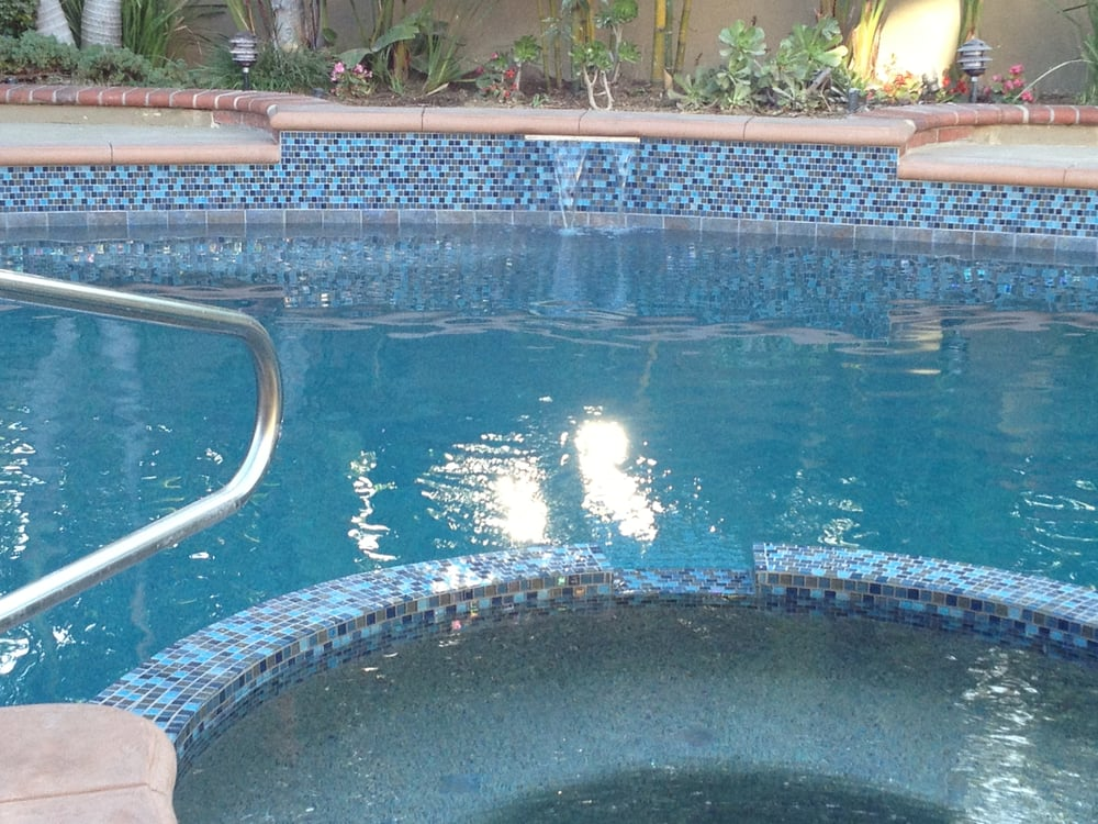 Finished pool with glass tile waterfall yelp for Pacific pools
