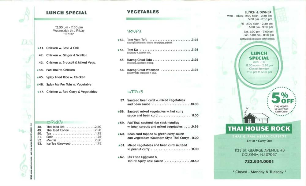Online Menu Of Thai House Rock Restaurant, Colonia, New