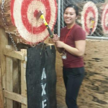 indoor axe throwing. photo of axehole - indoor axe throwing edmonton, ab, canada. boo yah o