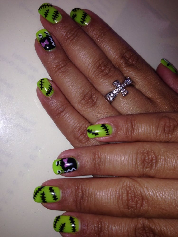Bride Of Frankenstein Nail Art Design By Lily Shellac Manicure 27