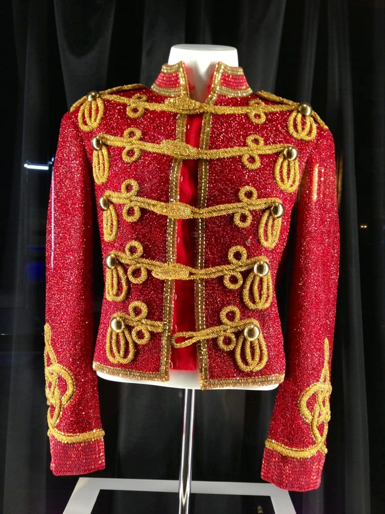 authentic mj red beaded military jacket from 1984 amas