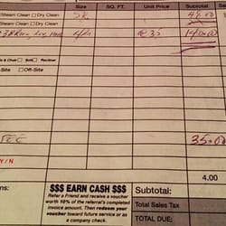 carpet cleaning receipt
